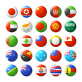 World flags round badges magnets asia and oceania illustration Stock Photography