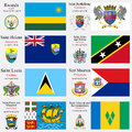 World flags of rwanda saint barthelemy saint helena saint kitts and nevis saint lucia saint martin saint pierre and miquelon and Stock Images