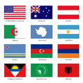 World Flags Set. Name Country of Letter A. Vector Royalty Free Stock Photo