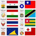 World flags of syria taiwan tajikistan tanzania thailand togo tokelau and tonga with capitals geographic coordinates and coat of Stock Image