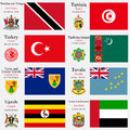 World flags of trinidad and tobago tunisia turkey turkmenistan turks and caicos islands tuvalu uganda and united arab emirates Royalty Free Stock Photography
