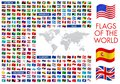 World flags vector icon illustrations with detailed world map Royalty Free Stock Photo
