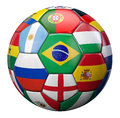 World football cup represented by a soccer ball textured by intertational teams flags Stock Photography