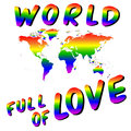 World full of love. Worldmap into the heart. LGBT colors.