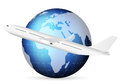 World globe and airplane travel around the blue Royalty Free Stock Image