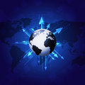 World Globe with Arrows on Blue Background Royalty Free Stock Photo