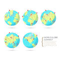 World globe connect in various positions of continent - Royalty Free Stock Photo