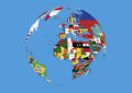 World globe Europe,Africa and Asia flags map Royalty Free Stock Photo