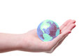 World globe in hand planet earth female on white Stock Photos