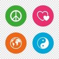 World globe icon. Ying yang sign. Hearts love. Royalty Free Stock Photo