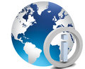 World globe with info icon Royalty Free Stock Photography