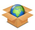 World globe map africa europe international shipping concept in cardboard box vector illustration Stock Image