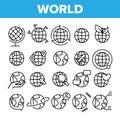 World, Globe, Planet Earth Vector Linear Icons Set