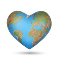 A world globe in the shape of a heart symbol concept for loving travel or loving and caring for environment isolated Royalty Free Stock Photos