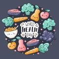 World health day card. Healthy food greeting card in doodle style. Kawaii pear, apple, muesli, grape, broccoli, carrot