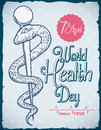 World Health Day Commemorative Retro Poster, Vector Illustration