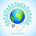 World health day illustration of concept for human icon stehescope around earth Royalty Free Stock Image