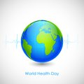 World health day illustration of concept for with lifline of earth Stock Photography