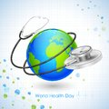 World health day illustration of concept for with stehescope around earth Royalty Free Stock Photo