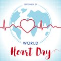 World Heart Day lettering card, line heart and cardio pulse trace on globe Royalty Free Stock Photo