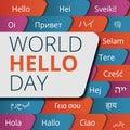 World hello day concept background, cartoon style