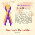 World Hepatitis Day. Colorful awareness ribbons isolated over world map in cartoon style. Vector illustration. Holiday