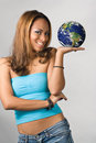 The World In Her Hand Royalty Free Stock Photo