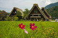World heritage shirakawago gasshozukuri houses Royalty Free Stock Image
