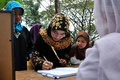World hijab day in manila a filipino muslim registers her attendance at the of at the quezon memorial circle quezon city on Royalty Free Stock Image