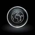 World icon inside round silver and black emblem Royalty Free Stock Photo