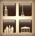 World icons over brouwn bacground vector illustration Royalty Free Stock Photos