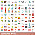 100 world icons set, flat style