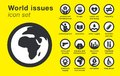 World issues icons set. Sustainability problems Royalty Free Stock Photo
