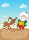 Old Man and Donkey Vector Illustration Royalty Free Stock Photo