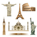 World landmark icon set vector big ben colosseum eiffel tower taj mahal statue of liberty Stock Image