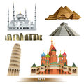 World landmark icon set vector egyptian pyramids pisa tower pyramid maya blue mosque stonehenge Royalty Free Stock Image