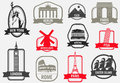 World landmarks flat icon set. Travel and Tourism. Vector