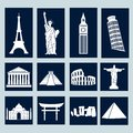 World landmarks icons set different illustration vector Stock Photography