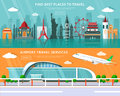 World landmarks, places to travel and airport travel service set with flat elements vector illustration