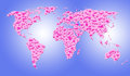 World of love - world map with hot pink hearts Royalty Free Stock Image