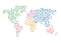 World map abstract mosaic dotted vector illustration