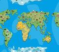 World map with animals and trees seamless pattern. Background ge Royalty Free Stock Photo