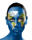 World map on beauty woman face  Royalty Free Stock Images