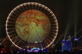 World map on the big Wheel on Place Bellecour Royalty Free Stock Photo
