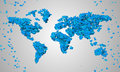 World map blue love shape particles digital art Royalty Free Stock Photo