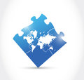 World map blue puzzle illustration design over a white background Stock Images