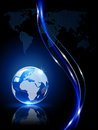 World map blue shiny globe on dark background illustration Stock Photography