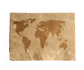 World map on brown napkin isolate on white (clipping path) Royalty Free Stock Photo