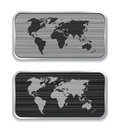 World map on brushed metal app icons vector illustration Royalty Free Stock Images