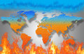 World map is burning now we high temperature increase very day look like Royalty Free Stock Photo